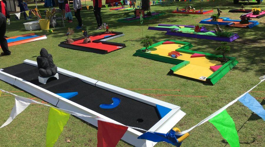 ultimate mini golf rental Banyan Creative, Putt Putt hire, Mobile mini golf, crazy golf, mini golf hire events, mini golf event stand, amusement hire Perth